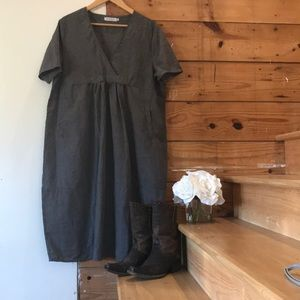 MISSLOOK Sz 3XL grey denim look pocket midi dress
